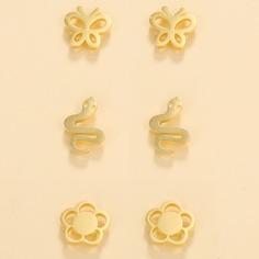 3 пары серьги-гвоздики в форме бабочки и змеи Shein