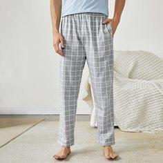 с карманами Клетка Повседневный Мужская домашняя одежда Shein