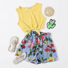 Топ и шорты в полоску с ботаническим принтом для девочек Shein