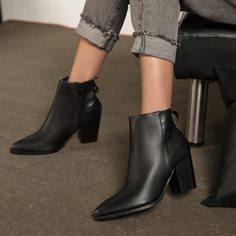 Минималистские ботинки на массивном каблуке с молнией Shein
