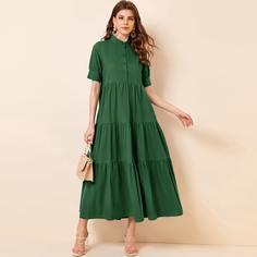 Зелёные Низ-оборка Одноцветный Повседневный Платья Shein