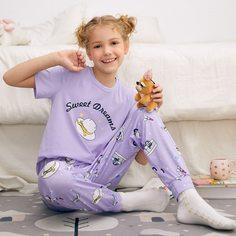 Пижама с текстовым принтом для девочек Shein