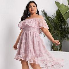 Кружевное платье размера плюс с открытыми плечами Shein