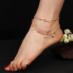 Многослойный ножной браслет с искусственными жемчугами Shein