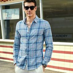 Мужская рубашка на пуговицах в клетку Shein