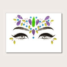 1 лист стикер татуировки глаза со стразами и каплей воды Shein