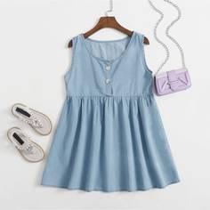 Джинсовое платье с пуговицами для девочек Shein