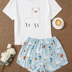 Пижама размера плюс с мультипликационным принтом Shein