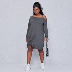 Платье размера плюс с открытыми плечами и драпировкой Shein