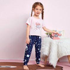 Пижама соригинальнымпринтом для девочек Shein