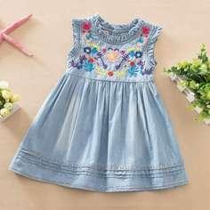 с вышивкой Цветочный принт милый Джинсовые платья для девочек Shein