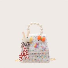Цепочка с жемчугом Мультяшный принт Детские сумки на плечо и сумки-тоут Shein