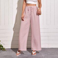 Широкие брюки в полоску на кулиске Shein