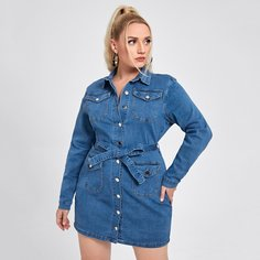 Джинсовое платье размера плюс с поясом и карманом Shein