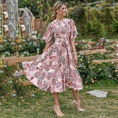 Расклешенное платье с принтом пейсли и поясом Shein