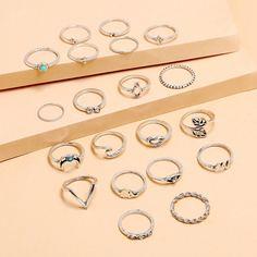 20шт кольцо с декором листа Shein