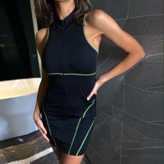 Облегающее платье на молнии с контрастной отделкой Shein