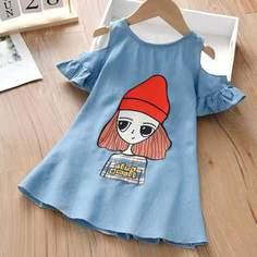 Джинсовое платье с принтом девушки для девочек Shein
