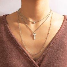Многослойное ожерелье с сердечком и ключом Shein