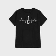 Мужская футболка с принтом гитары Shein