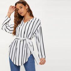 Пояс Полосатый Повседневный Блузы Shein