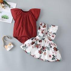 Сарафан-юбка со смешанным принтом для девочек Shein