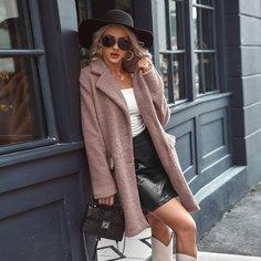 Плюшевое пальто с пуговицами Shein