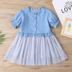 на пуговицах Контрастный цвет милый Джинсовые платья для девочек Shein