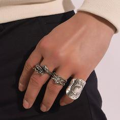 3шт мужское кольцо со стразами Shein