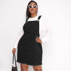 с карманами Одноцветный Институтский Джинсовые платья размер плюс Shein