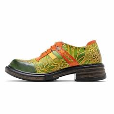 Кожаные оксфорды на шнурке с ботаническим узором Shein
