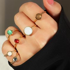 6шт Кольцо с круглым декором Shein