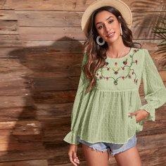 Блуза с цветочной вышивкой Shein