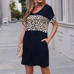 Платье-футболка с леопардовым принтом Shein