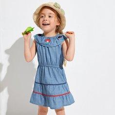 с вышивкой Цветочный принт Повседневный Джинсовые платья для девочек Shein