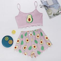 Пижама с принтом авокадо Shein