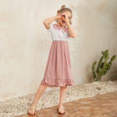 Контрастное платье с графическим принтом для девочек Shein