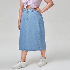 Разрез Одноцветный Джинсовые юбки размер плюс Shein