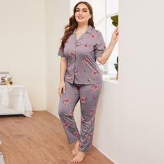 Пижама размера плюс с цветочным принтом Shein