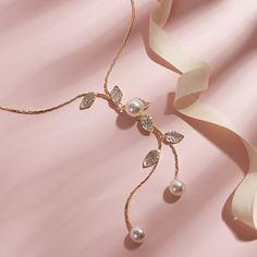 Ожерелье с искусственной жемчужиной и лариатом Shein