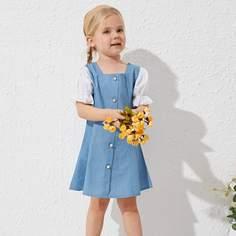 с оборками Контрастный цвет милый Джинсовые платья для девочек Shein