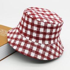 Мужская двусторонняя шляпа в клетку Shein