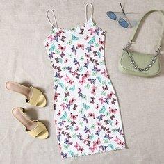 Облегающее платье с принтом бабочки Shein