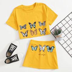 Футболка и юбка с принтом бабочки для девочек Shein