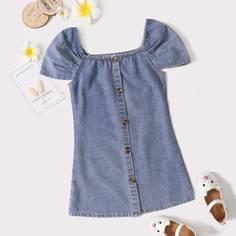 Пуговица Одноцветный Повседневный Джинсовые платья для девочек Shein