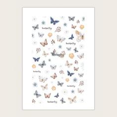 Наклейка для ногтей с рисунком бабочки 1 лист Shein