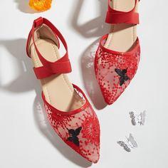 Ремешок на щиколотке с вышивкой Цветочный Модный Балетки Shein