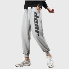 Мужские спортивные брюки с карманами и текстовым принтом Shein