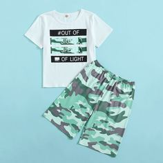 буква Повседневный Домашняя одежда для мальчиков Shein