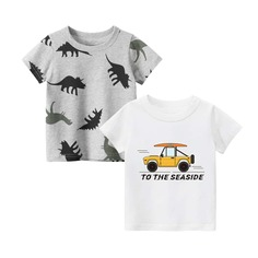 2шт футболка с оригинальным принтом для мальчиков Shein